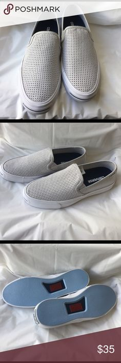 Converse JP II Unisex Slip on Unisex slip on. Diamond cut pattern in upper canvas.  Color: Mouse/Navy/White. Men Size: 8 Women's Size: 9.5 Sneaker is new, never worn. Converse Shoes Sneakers