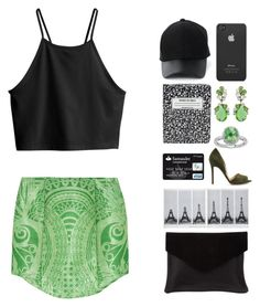 """Green Day bz Polyvore"" by itsmytimetoshinecoco ❤ liked on Polyvore featuring Balmain, H&M, Amiee Lynn, Kate Spade, Incase, Badgley Mischka, Lord & Taylor, Graine, GREEN and greenday"