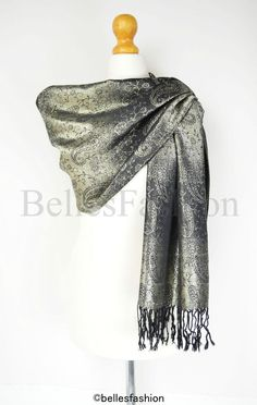 Black & Gold Pashmina Shawl/Wrap/Scarf/Cover Up/Formal/Wedding/Prom/Gift/Party