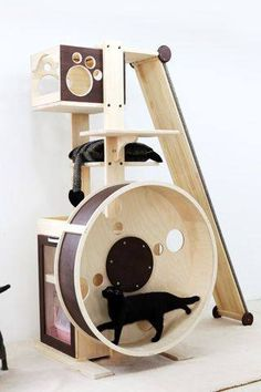 Some of the best cat beds and cat houses for the most cat fun and cat sleep. The nicest cat stuff and the best stuff for cats. These cute cats deserve nice cat beds Cool Cat Trees, Diy Cat Tree, Cool Cats, Cat Exercise Wheel, Gatos Cool, Cat Perch, Cat Towers, Cat Playground, Cat Enclosure