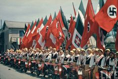 1938: Rome during Hitler's visit. Agfakolor by Hugo Jaeger.