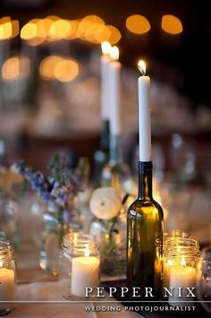 Candle in wine bottle center piece  Photo by Pepper Nix: http://www.peppernix.com/