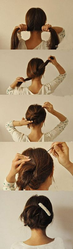 really neat trick for long hair - only a couple of bobby pins needed!