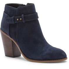 Sole Society Lyriq Heeled Ankle Bootie ($100) ❤ liked on Polyvore featuring shoes, boots, ankle booties, ankle boot, ink navy, high heel boots, navy blue suede boots, short boots, navy suede boots and suede ankle booties