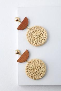 Silvana Beige Woven Earrings 2