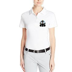 VINCEIE Womens Pirate Figure Short Sleeve Polo Shirt Size M White * Click on the image for additional details.
