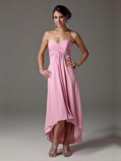 Sheath/Column Sweetheart Asymmetrical Chiffon Pink Cocktail Dress With Brooch