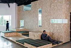 """OSB Panels Prominently Featured in New AOL OfficesThe OSB was """"sanded, shaped, and finished to serve as a contemporary accent throughout the complex"""""""