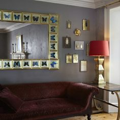 Blue Butterfly Mirror. 160 x 120 cm. Twenty four butterflies set in a frame gilded with 16.9 carat lemon gold and 23 carat yellow gold leaf.
