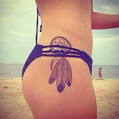 dreamcatcher tattoo on thigh