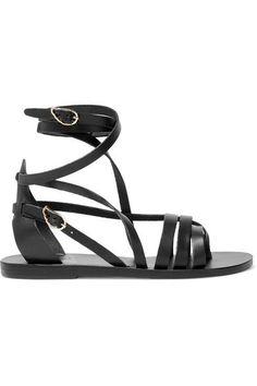 Ancient Greek Sandals - Satira Leather Sandals - Black - IT40