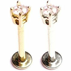 "14K Gold Labret with 2.5mm Round CZ, 18 Ga,Length:1/4"" (6mm),Color:clear,Gold color:White gold MsPiercing. $64.38. Length: 1/4"" (6mm). : Ships in 2-3 business days. Gauge: 18. : Made In USA. Color: clear"