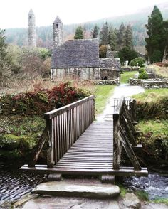 Glendalough Village in County Wicklow. Ireland.   Truly a beautiful county that was quite  easy to drive and explore for several weeks. I scared many a sheep but the cows think I'm swell. If any painter needs any rear end photos of mass exits of sheep moving away from me for a painting - don't think twice to ask.   Nicest people I've ever met ...a must holiday if you ever thought about traveling to Ireland.