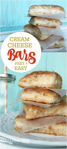 Easy cream cheese bars recipe. SO GOOD and SO easy to make! Great family recipe idea, these cream cheese squares are filled with a cheesecake like cream and are perfect for holiday get togethers or nightly dessert. Easy cheese danish recipe with Pillsbury Cresents! #dessert #ad #warmtraditions: