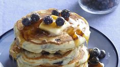 Simple but delicious blueberry pancakes. Fresh or frozen blueberries are equally good.