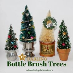 """Consider eleven different ways to style new and old bottle brush trees, because nothing quite says """"vintage Christmas"""" like bottle brush trees. Vintage Christmas Crafts, Retro Christmas, Christmas Projects, Christmas Diy, Christmas Wreaths, Christmas Ornaments, Vintage Ornaments, Vintage Christmas Balls, Miniature Christmas Trees"""