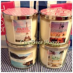 Bath and Body Works Destination candles 2013/2014: Paris Daydream, London Calling, Meet Me In Tahiti, Palm Beach