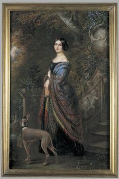 Lady With A Greyhound - watercolor by Daniel Saint 1839-1842