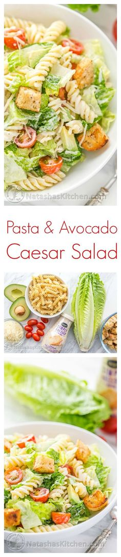 You have to try this Pasta Avocado Caesar Salad. Pasta Caesar Salad is an easy and family friendly weeknight meal! | natashaskitchen.com