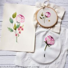 Needlepainting for Beginners: Story of Peony - Stitch Floral Hand Embroidery Designs, Ribbon Embroidery, Cross Stitch Embroidery, Long And Short Stitch, Swedish Weaving, Thread Painting, Diy Sewing Projects, Small Flowers, Hand Stitching