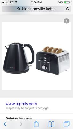 Black kettle and toaster but is actually more of a silver grey. Breville. To go with white and silver theme kitchen.