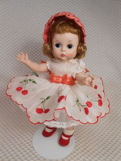Beautiful Vintage Madame Alexander Kins Doll in the HTF 1957 Cherry Twin Outfit