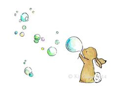 Nursery Art -- Bunny Bubbles -- Art Print