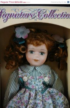 """Vintage Petite Porcelain Doll  """"Erin""""  Limited Edition Signature Collection by Phoenix International, designed by Barbara Lee."""
