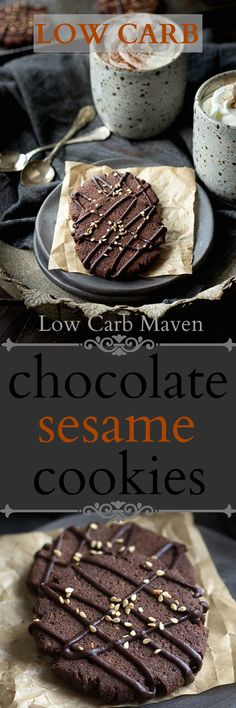 Low carb chocolate sesame cookies have a crispy texture & taste like brownies! A delicious low carb keto dessert for any chocolate lover! Sugar Free Desserts, Sugar Free Recipes, Keto Recipes, Dessert Recipes, Healthy Recipes, Brownie Recipes, Dessert Ideas, Cookie Recipes, Healthy Food
