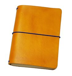 """FLEXI(""""M"""")-yellow genuine cow-leather notebook with blue elastic band Leather Notebook, Leather Journal, Personal Organizer, Notebook Covers, Leather Cover, Cow Leather, Cool Suits, Band, Yellow"""