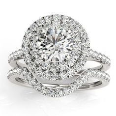 1.25 TCW Round Cut Diamond 18k Solid White Gold Double Halo Bridal Wedding Ring With Cristmas Special Discount