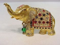 Vintage Rhinestone Circus Elephant Pin Stands Alone ~ Numbered ~ CINER ? #Cinerseedescription