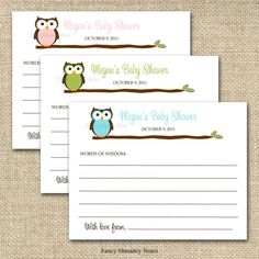 Owl Baby Shower Advice Cards for the Mom To by fancyshmancynotes, $8.50