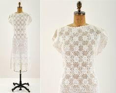 vintage 70s crochet scallop dress