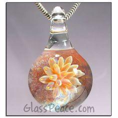 Lampwork Focal Bead Sea Anemone glass pendant by Glass Peace $26.00