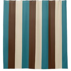 Shop Teal Brown and Beige Vertical Stripes Shower Curtain created by stdjura. Personalize it with photos & text or purchase as is! Striped Shower Curtains, Vertical Stripes, Brown Beige, Teal Blue, Graphic Design, Modern, Gift Ideas, Gifts, Living Room