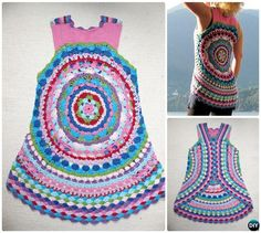 DIY Crochet Flower Power Circle Vest Free Pattern-Crochet Circular Vest Sweater Jacket Pattern