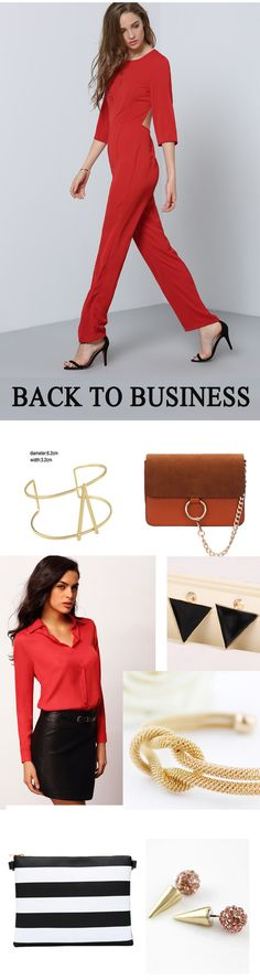 Time to back to business. Jumpsuit and blouse suit make you smart and formal. Accessories are necessary for adding beauty. Come for all above at romwe.com with 60% off 1st order.