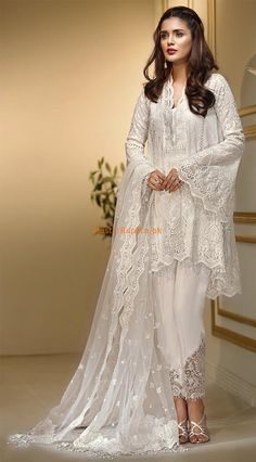 Fabric: Chiffon Embroidered Chiffon Shirt Front Embroidered Daman Front + Back Embroidered Neck (Sequence Work) Embroidered Sleeves Embroidered Net Dupatta (Cut-work) Embroidered Trouser Motifs Malai Trousers Included Pakistani Dresses Online, Pakistani Dresses Casual, Pakistani Bridal Dresses, Pakistani Dress Design, Dress Indian Style, Indian Dresses, Indian Outfits, Pakistani Fashion Party Wear, Indian Fashion