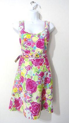 Anthropologie Tulle Dress Floral Flower Belted Cocktail Tea Mod Dress Small S #Tulle #TeaDress
