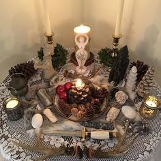 Blessed Imbolc to everyone! My altar is complete and I am just soaking in the pure white light of her flame and spirit! Autel Wiccan, Pagan Altar, Magick, Wiccan Decor, Pagan Yule, Pagan Witchcraft, Home Altar, Crystal Magic, Witch House