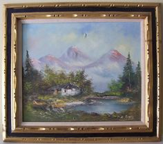 [SALE!] Old Master P. De Boer Oil Painting Of Mountainside Landscape On Canvas
