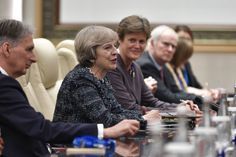 British Prime Minister Theresa May speaks during his meeting with Chinese President Xi Jinping at the West Lake State House on September 2016 in Hangzhou, China. World leaders have gathered in. Get premium, high resolution news photos at Getty Images British Prime Ministers, Theresa May, World Leaders, Sports And Politics, Shit Happens, News, Twitter, Lady