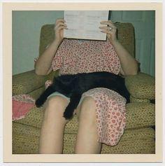 Faceless Woman Hides Face from Camera w Sleeping Black Lap Cat Vtg Color Photo | eBay retrotreasures $112.39