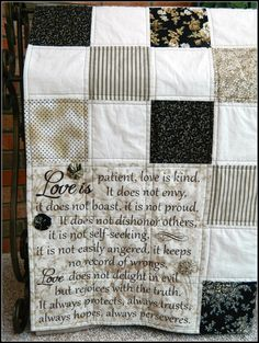 Life Journeys Signature Quilt Series wedding anniversary other LOVE is PATIENT 11800 via Etsy Quilting Projects, Quilting Designs, Quilting Tips, Wedding Dress Quilt, Wedding Quilts, Etsy Quilts, Quilting Quotes, Signature Quilts, Quilt Labels