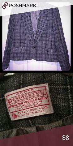 Made in USA!! Pendleton wool blazer Quality Pendleton blazer. Lined. 10petite grey plaid. No flaws, perfect condition Pendleton Jackets & Coats Blazers