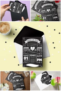 Printable Rustic Chalkboard Wedding Invitation Suite Template  #prandski #weddingsuk #diywedding #weddingsuite