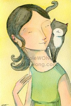 Kitty friend, painting by artist Nicole Wong