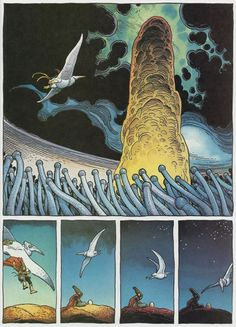 Page Arzaq short story by Moebius and William Stout. Jean Giraud, Comic Book Artists, Comic Artist, Illustrations, Illustration Art, Science Fiction, Moebius Art, Comic Style Art, Heavy Metal Art