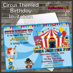 Fun Personalized Circus Inspired Printable Birthday Party Invitation Digital File by DigiGraphics4u on Etsy